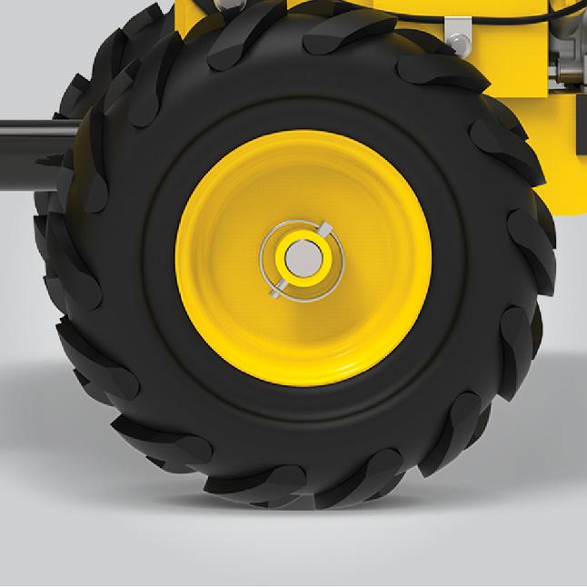 Closeup image of tiller wheels