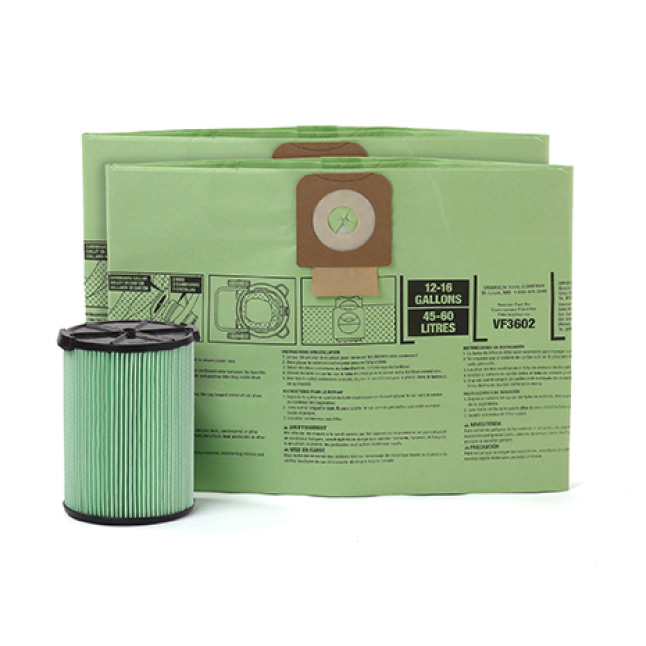 Kit includes 2 RIDGID dust bags VF3602 & 1 RIDGID filter VF6000.