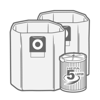 Achieve HEPA Filtration when filter and dust bag installed together.