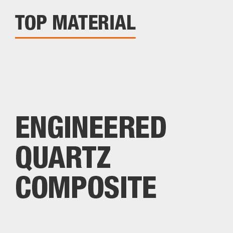 Bath vanity top material is made of engineered quartz composite