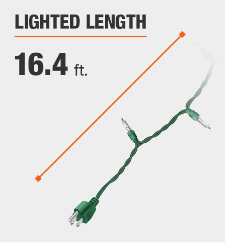 The lighted length is 16 feet