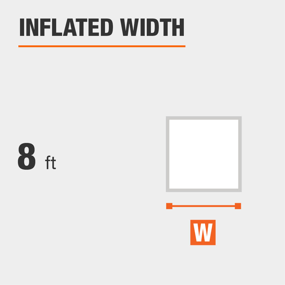 Inflated width is 8 feet