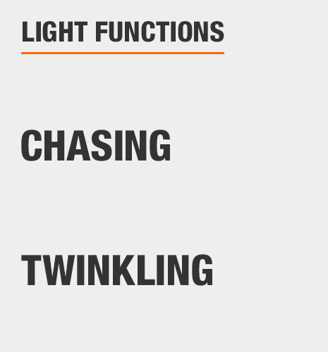 The light functions are color changing, twinkling, and pulsing
