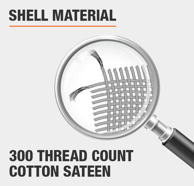 Shell Material 300 Thread Count Cotton Sateen