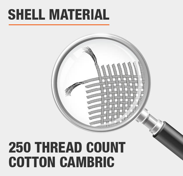 Shell Material 250 Thread Count Cotton Cambric