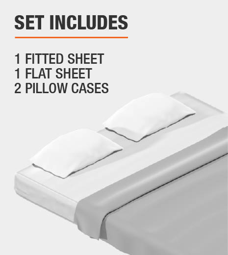 Set Includes 1 Fitted Sheet, 1 Flat Sheet, 2 Pillow Cases
