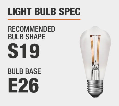 Recommended Bulb Shape: ST19, Recommended Bulb Base: E26