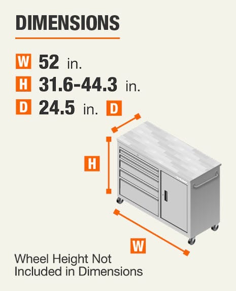 Dimensions 52 inches wide, 31.6-44.3 inches high, 24.5 inches deep. Wheel height not included In dimensions.