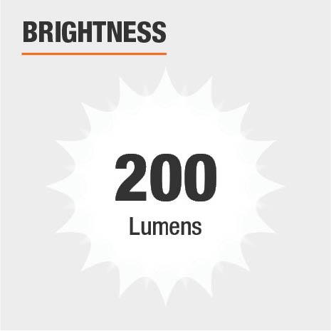 This light's brightness is 200 Lumens.