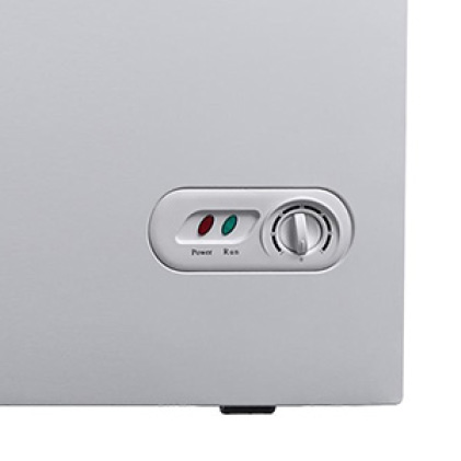 Easily adjust temperature with external thermostat
