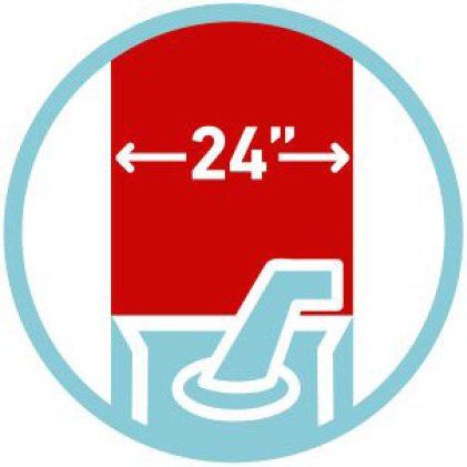 """icon of 24"""" clearing width"""