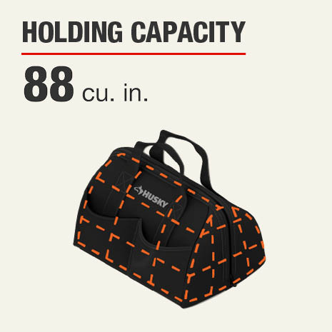 Husky 18 inch Tech Tool Bag stores 88 cubic inches