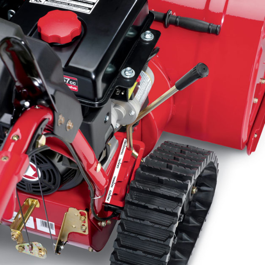 snow blower, snow thrower, weight transfer, track drive, Troy-Bilt