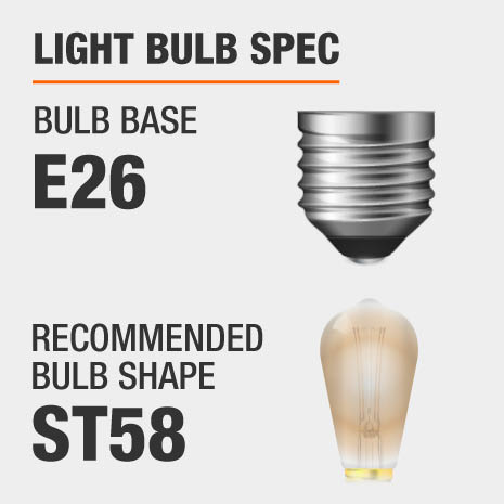 This pendant requires a E26 bulb base, and a ST58-shaped light bulb is recommended.
