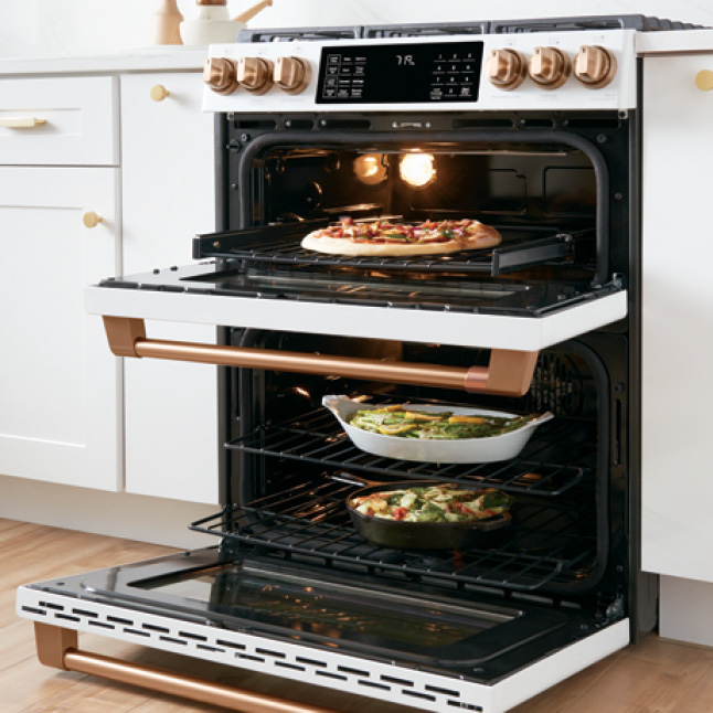 Cafe 30 in. 7.0 cu. ft. Slide-In Double Oven Dual-Fuel ...