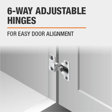Bath vanity features 6 way adjustable door hinges