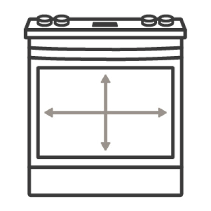 An icon of an oven. Arrows measure the capacity of the oven's cavity.