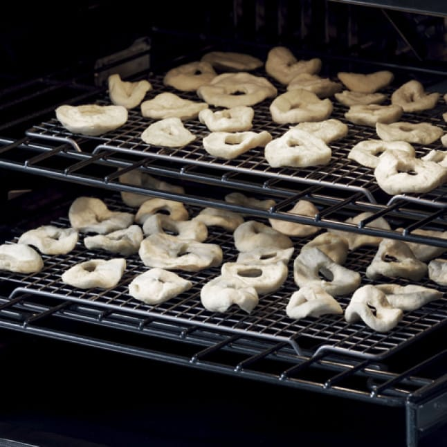 Food is dehydrated inside of the oven