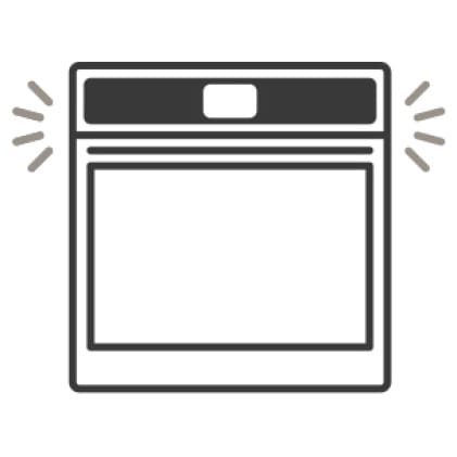 An icon of the oven door shutting quietly.