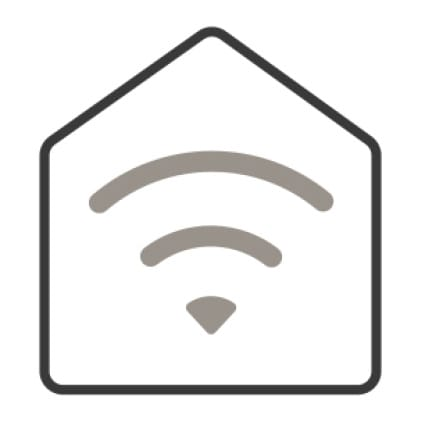 An icon of a home. Signal waves from the center of the house illustrate the home's wifi capabilities.