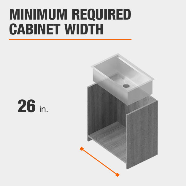 Minimum Required Cabinet Width is 26 inches