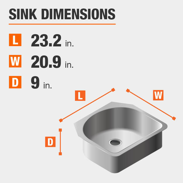 Sink Dimensions Width=20.9 inches Length=23.2 inches Depth=9 inches