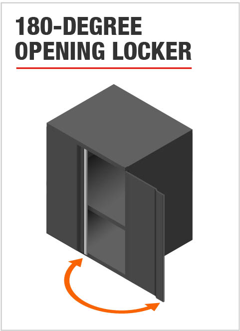 Husky Garage Cabinets with 180 Degree Opening Locker