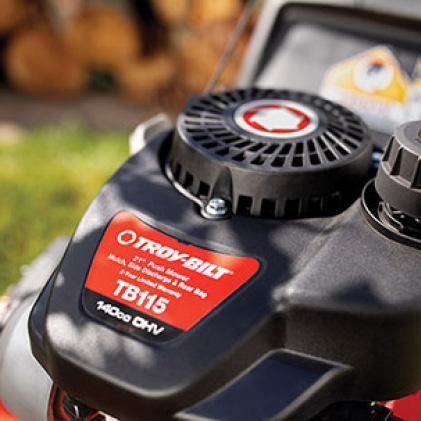 Troy-Bilt gas walk behind mower, push mower, lawn mower, simple starting, reliable starting