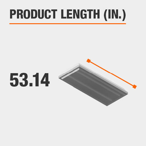 This light fixture has a length of 53.14 inches.