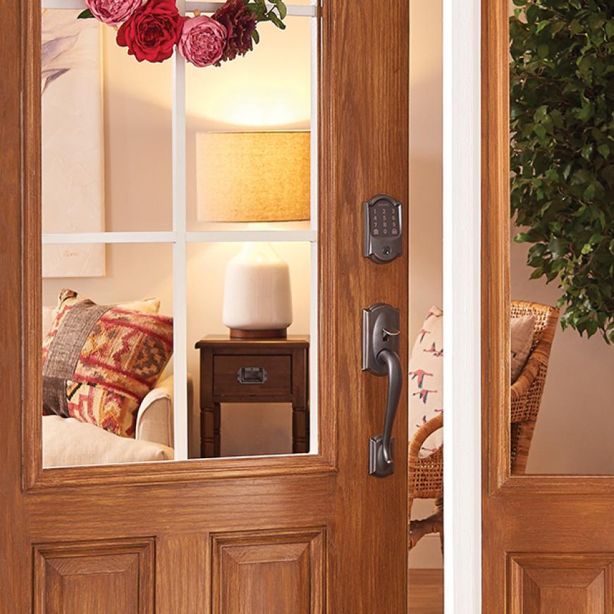 Schlage Camelot Encode Smart Wifi Door Lock with Alarm in Satin Nickel