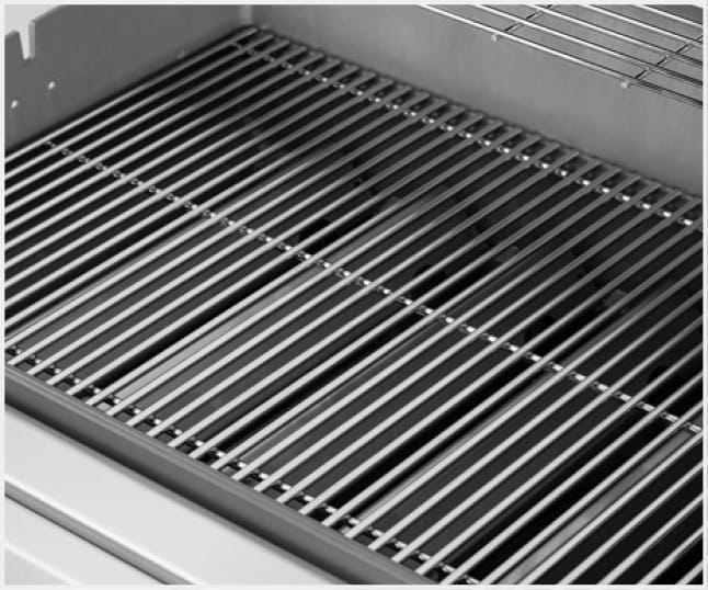 Solid stainless steel rod cooking grates provide even heat distribution and are built to last.