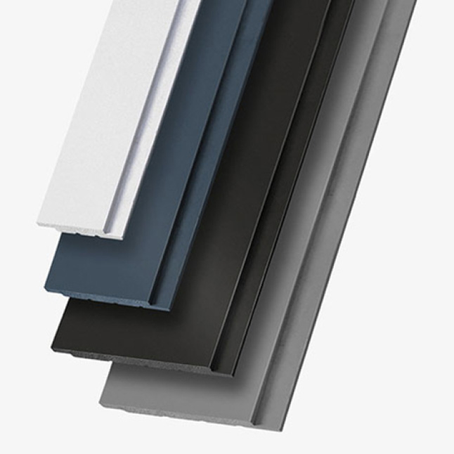 A product shot showing the white, blue, and black timeless boards