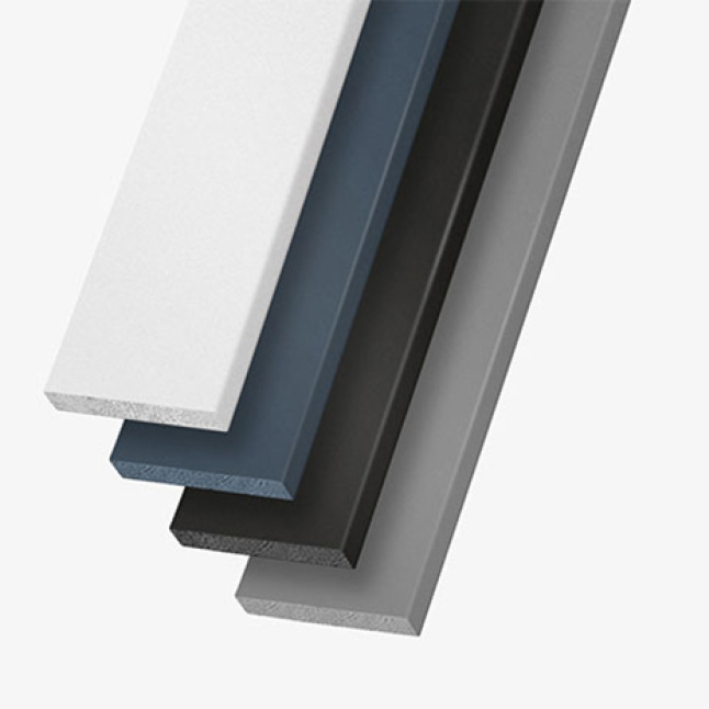 A product shot showing the white, blue, and black timeless trim boards
