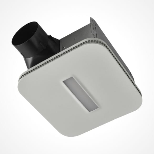 Image of the Roomside Series 80 fan and Cleancover grille attached with the light in off mode on a white background.
