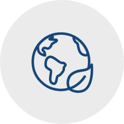 Blue icon of a globe with a single leaf outline on the edge of the globe to represent energy efficiency.