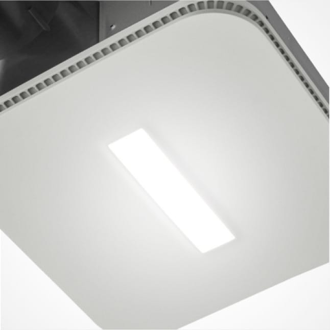 Zoomed in image of the Roomside Series 80 fan with Cleancover to highlight the illuminated simple, rectangular, white, LED light opening.