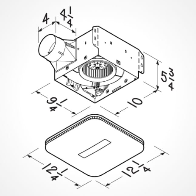 Black and white line drawing of the Roomside Series 80 fan and CleanCover grille with the numbered dimensions.