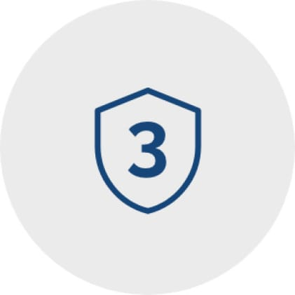 Blue icon of a shield with the numeral three inside it to represent the 3-year warranty.