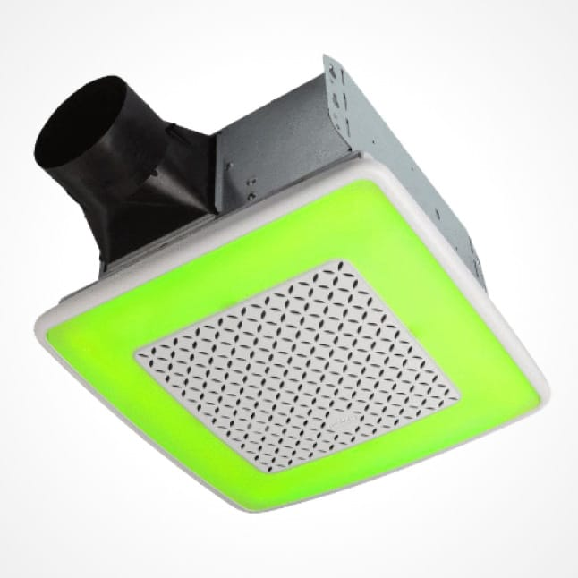 Image of the ChromaComfort fan with the grille illuminating a bright green color.