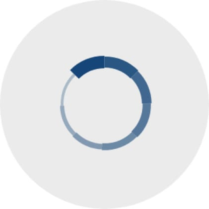 Simple icon of a circle with eight equal sections that progressively become a darker blue color as they go around the circle.