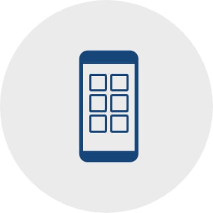 Simple, blue icon of a cell phone with six small boxes to represent apps on a phone.