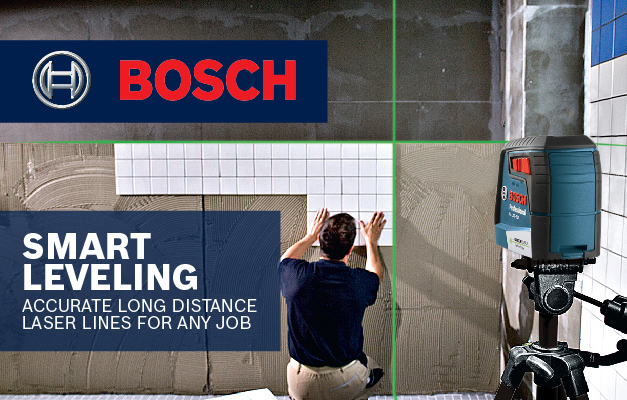 Bosch GLL 40-20 G projecting lines onto wall for tiling project.