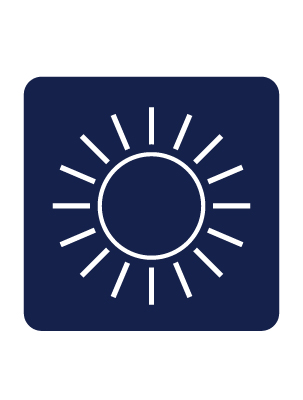 Infographic of sun indicating brightness