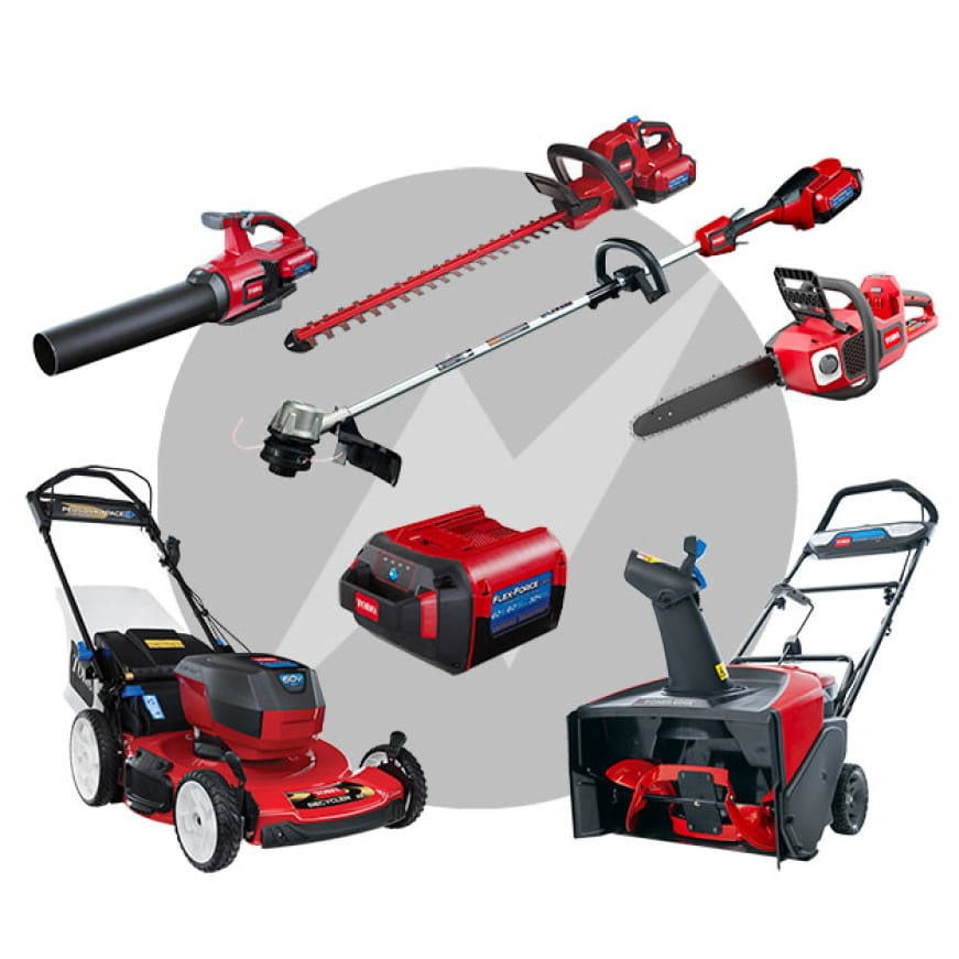 All of the Toro tools that work with the Flex-Force battery power system, blower, string trimmer, chainsaw. Lawn mower and snow blower