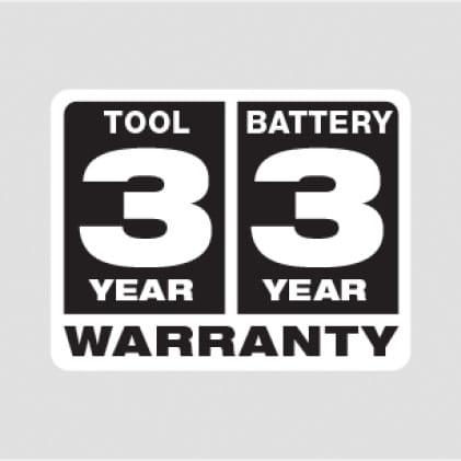3 Year Tool Warranty, 3 Year Battery Warranty