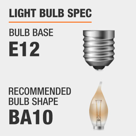 This chandelier requires a E12 bulb base, and a BA10-shaped light bulb is recommended.