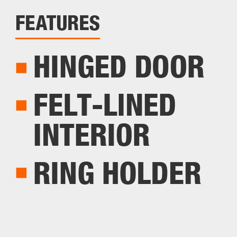 Hinged Door, Felt-lined Interior, Ring Holder