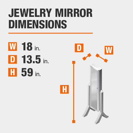 StyleWell Black Jewelry Mirror with Hinged Door 20.30 inches wide by 58.70 inches high.