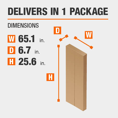 Delivers in 1 Package Dimensions of 65.1 inches wide, 6.7 inches deep, 25.6 inches high.