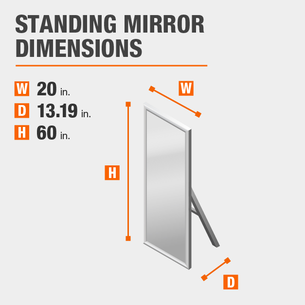 StyleWell Walnut Standing Mirror with Straight Edge Design 20 inches wide by 60 inches high.